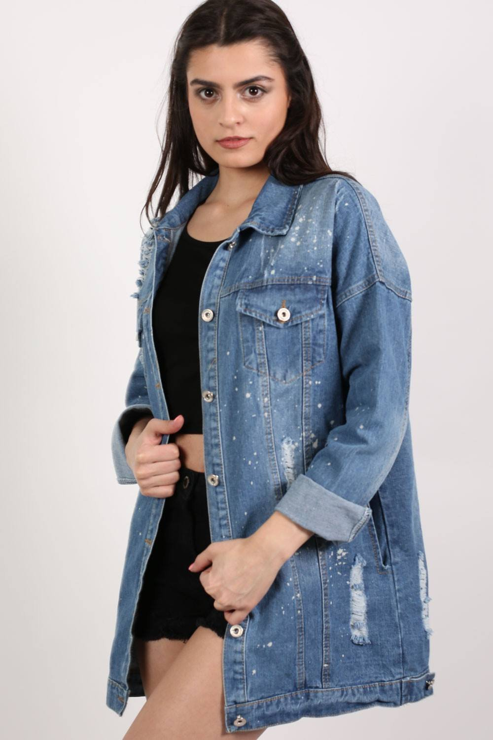 Oversized Paint Splattered Ripped Denim Jacket in Denim 0