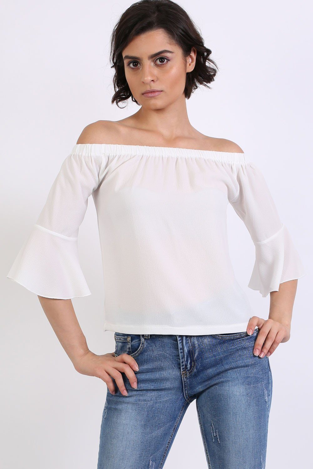 Frill Sleeve Floaty Bardot Top in Ivory White 0