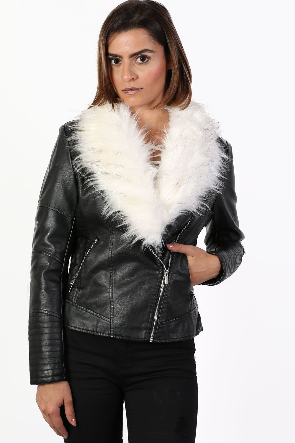 Faux Fur Trim Collar Faux Leather Biker Jacket in Black 0