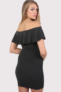 Deep Frill Bardot Bodycon Mini Dress in Black 1