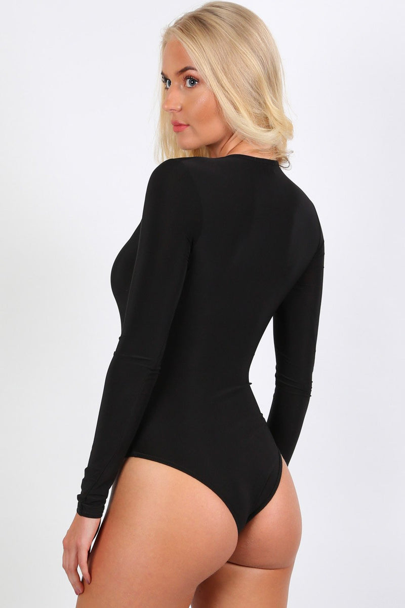 Slinky Plunge V Neck Long Sleeve Bodysuit in Black 1