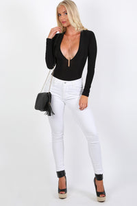 Slinky Plunge V Neck Long Sleeve Bodysuit in Black 2