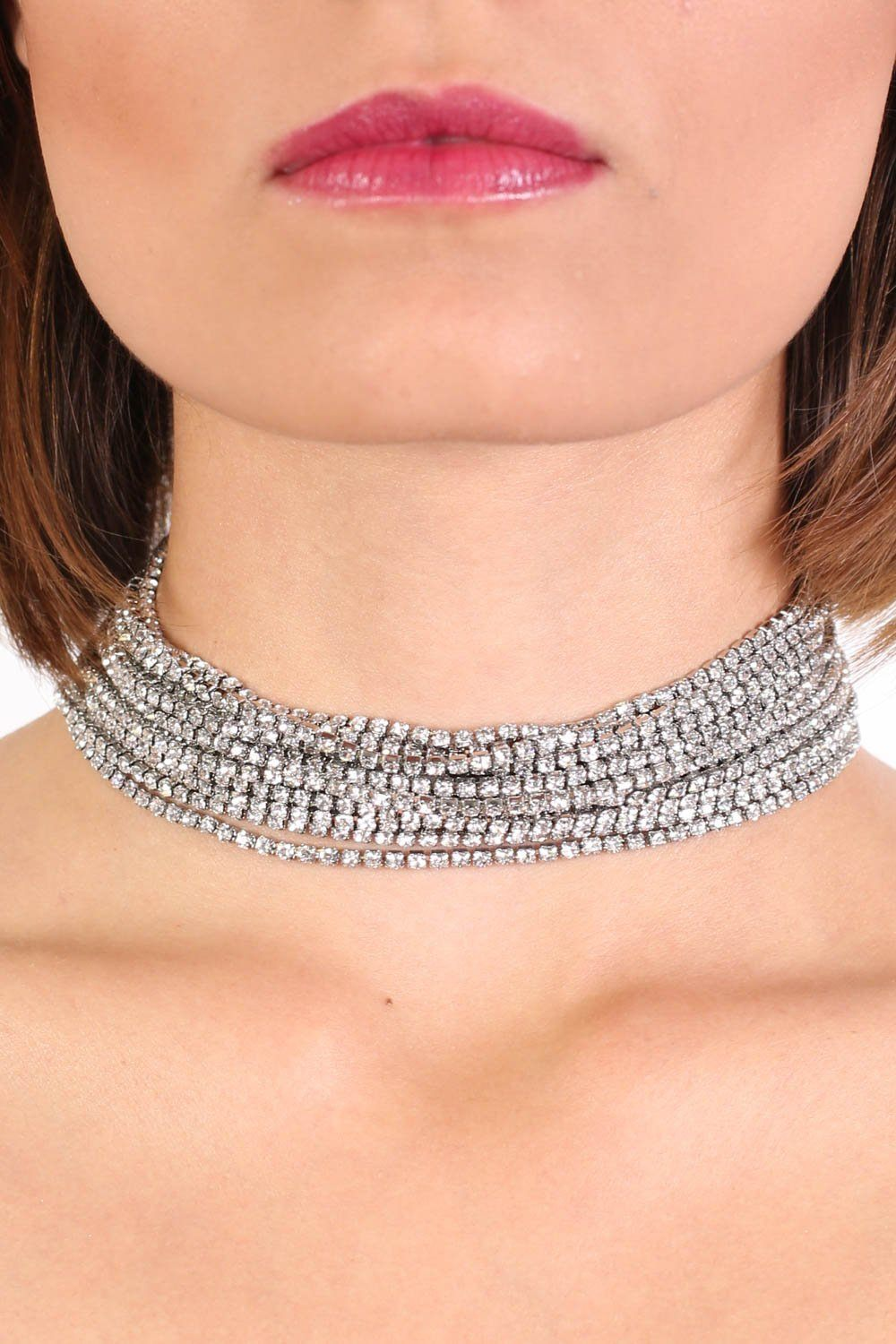 Layered Diamante Choker Necklace in Silver 0