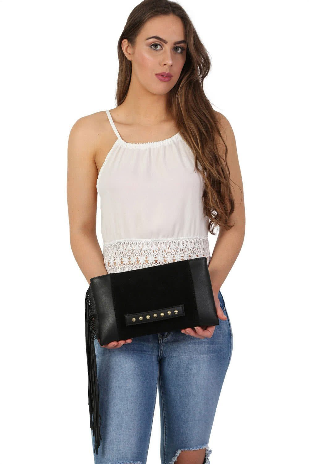 Tassel Clutch Bag in Black 0