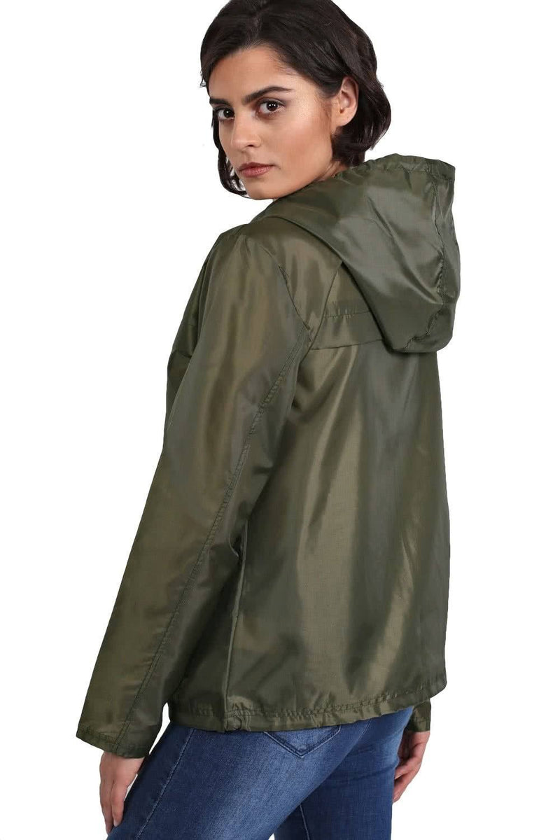 Lightweight Hooded Festival Jacket in Khaki Green 2