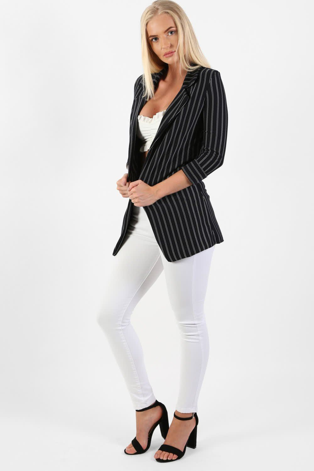 Pinstripe 3/4 Sleeve Sleeve Open Front Blazer Jacket in Navy Blue 0