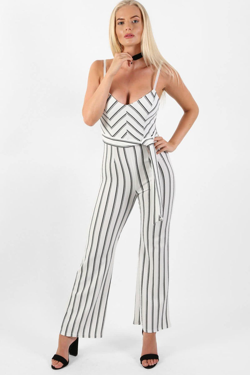 Monochrome Stripe Belted Jumpsuit in Cream 1