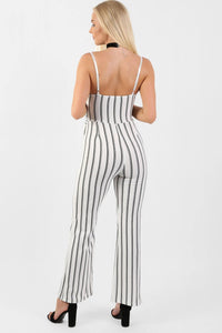 Monochrome Stripe Belted Jumpsuit in Cream 2