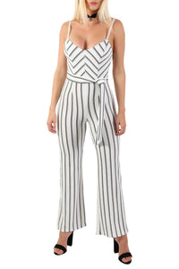 Monochrome Stripe Belted Jumpsuit in Cream 3