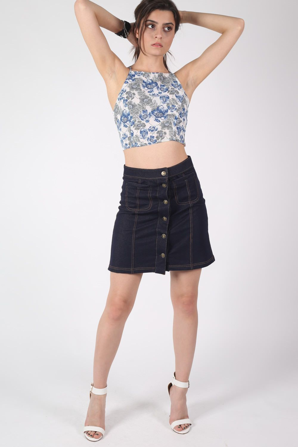 Patch Pocket Button Front Mini Skirt in Denim Blue 0