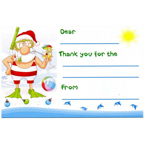 Beach Santa Kid's Christmas Thank You Postcards