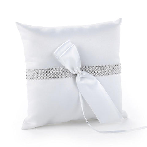 Bling Ring Pillow, fancy ring pillow, elegant ring pillow, rhinestone ring pillow, white ring pillow, Ring Pillows & Ring Boxes