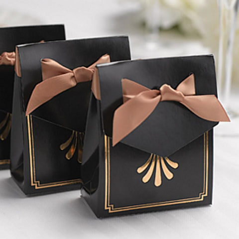Art Deco Tent Favor Boxes with Gold Flourish Design, party favor boxes, wedding favor boxes, art deco weddings, art deco theme, Favor Boxes