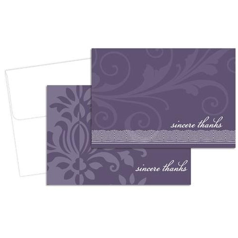 Amethyst Flourish Thank You Cards with Envelops - 24 Pack, thank you cards, pretty thank you cards, wedding thank you cards, purple thank you cards, Stationery & Letterhead