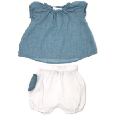 Blouse & Pocket Short Set - Green & White