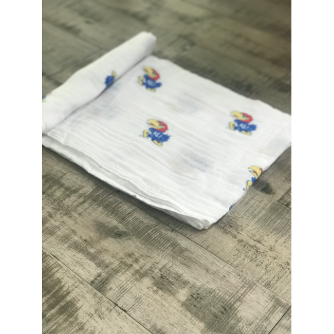 Collegiate Cotton Swaddle Blanket - University of Kansas