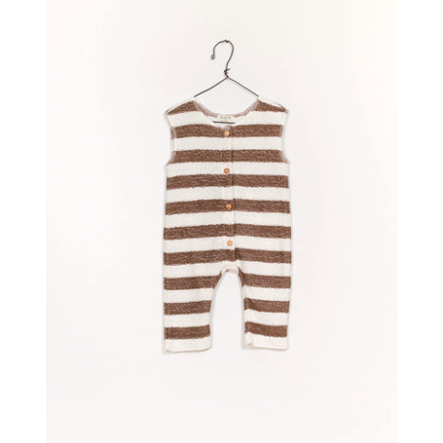 Striped Fleece Jumpsuit - Walnut & Ivory