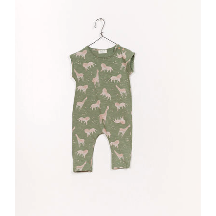 Printed Jersey Jumpsuit - Green Safari