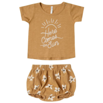 Here Comes the Sun Tee & Bloomer Set - Saffron