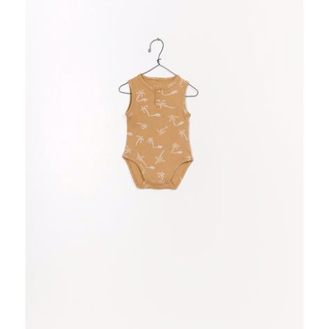 Printed Ribbed Bodysuit - Mustard Tropical