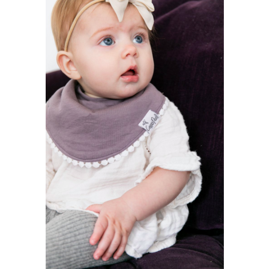 Pom Pom Trimmed Bib - Purple