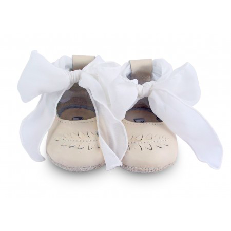 Nora Bow Flats - Ivory Leather