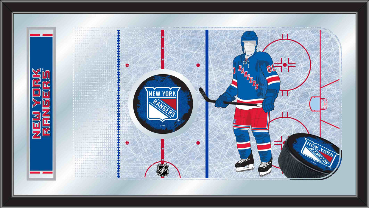 New York Rangers Hockey Rink Bar Mirror | Man Cave Authority | MRinkNYRang