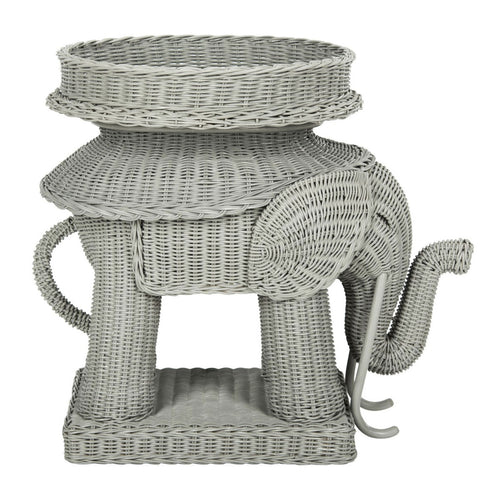 Jaipur Wicker Side Table - Gray