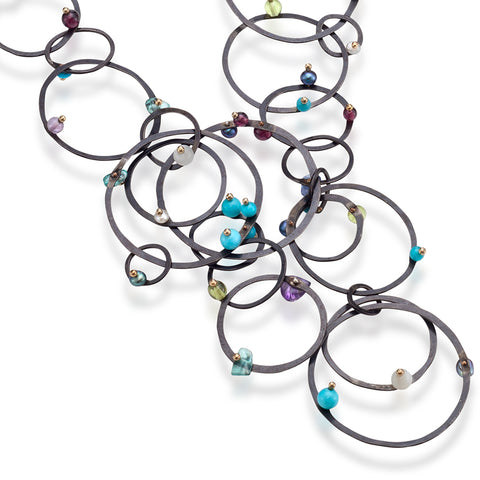 "ORBIT.chain  MIXED.stones W.cluster:  One-of-A-Kind ""Chain of Mixed Plenty"""