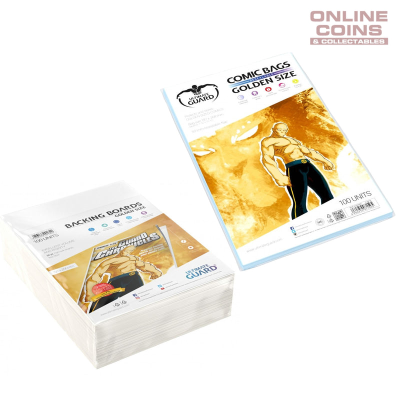 BUNDLE ULTIMATE GUARD Comic Series Resealable GOLDEN Size Comic Bags & Backing Boards x 100