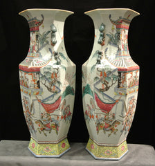 Porcelain Large Pair Hexagonal Famille Rose Vases