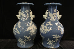 Porcelain Pair of Pale Blue White Vases Flowers