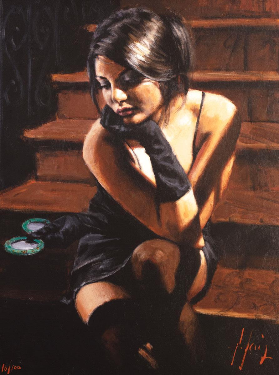 Saba On The Stairs Yellow Touch Fabian Perez Framed