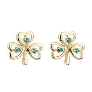 14 Karat Gold Shamrock Stud Earrings with Emeralds Emerald Isle Jewelry.