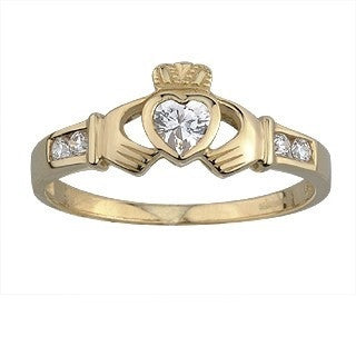 9 Carat Gold Claddagh Ring with Cubic Zirconia Stones
