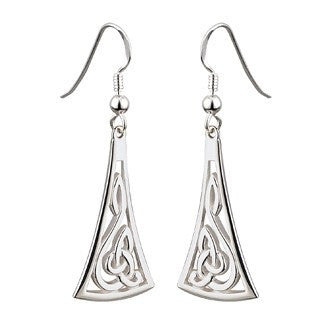 Sterling Silver Celtic Drop Style Long Earrings Emerald Isle Jewelry.