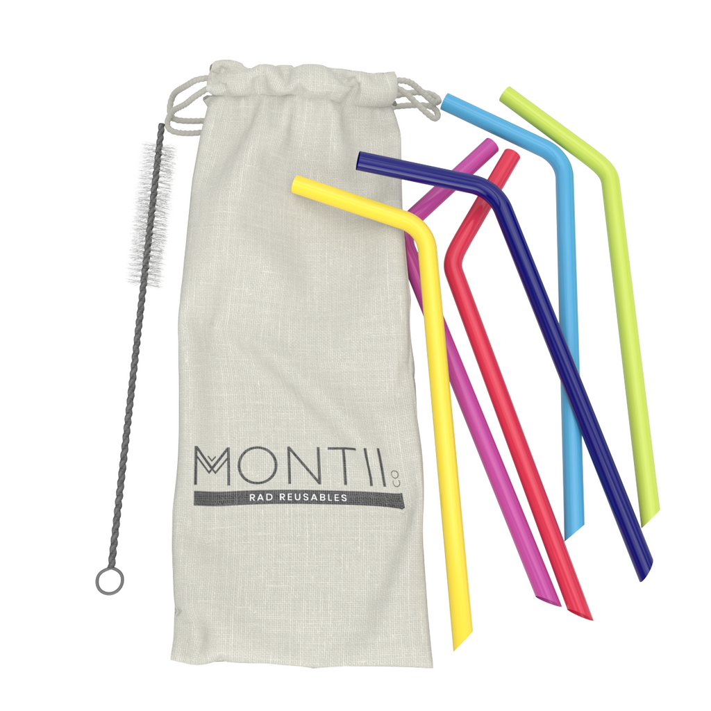 MontiiCo Reusable Silicone Straw Set - 6 Pack