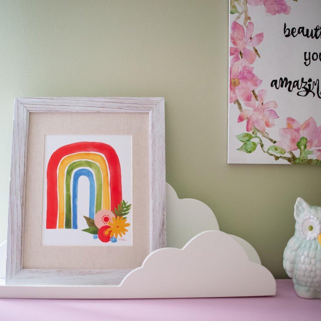 Rainbow Floral Watercolor Print - 8x10