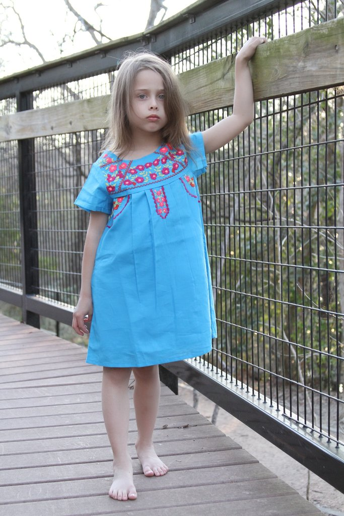 Lucia Turquoise Embroidery Fair Trade Dress,Cheeni Girls  - Wild Dill