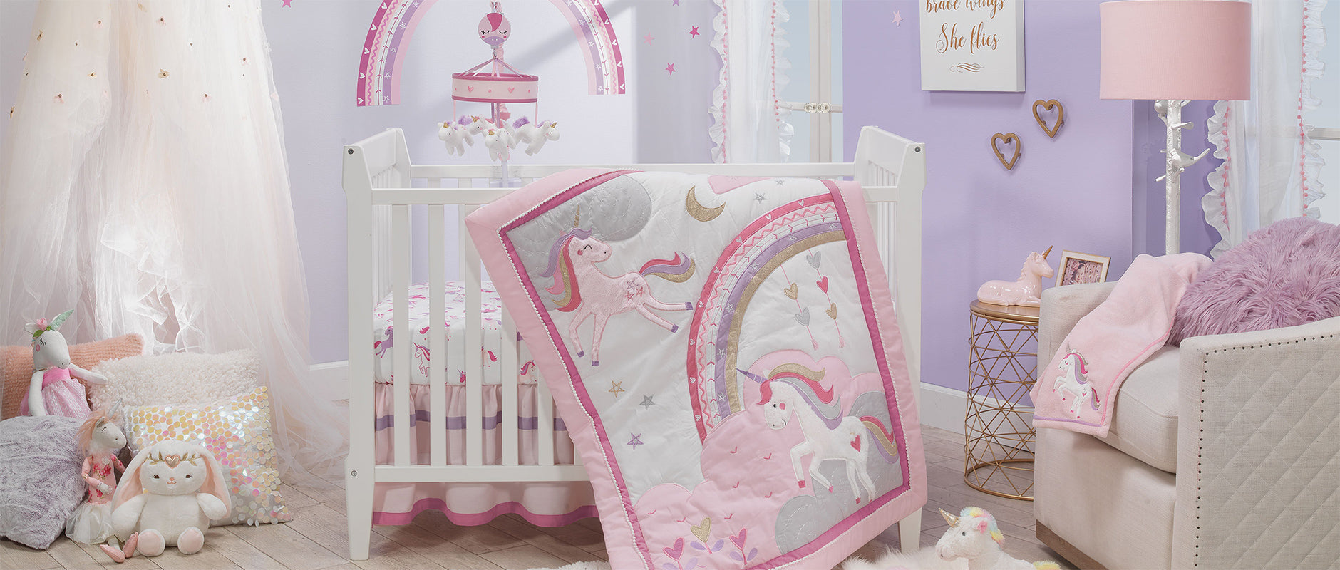 Magic Unicorn Rainbow Crib Bedding