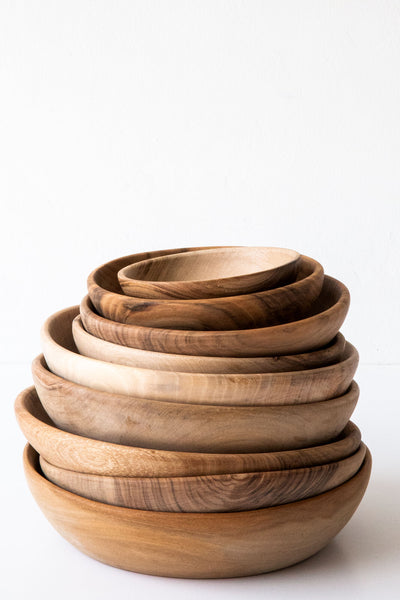 Lost & Found Serving & Dinner Walnut Bowls