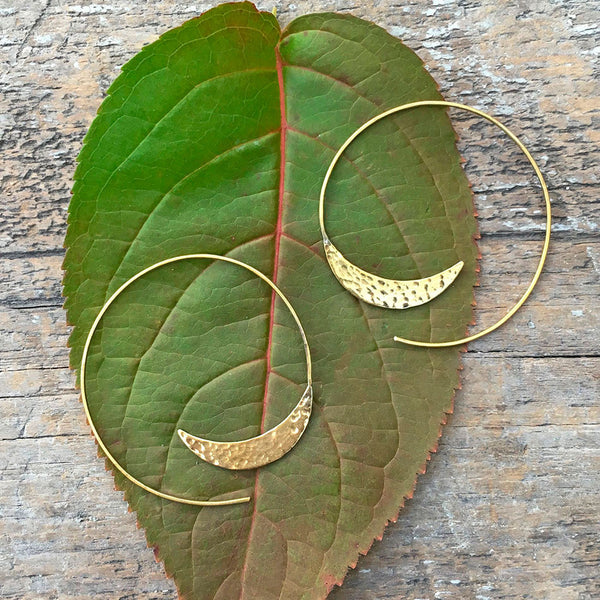 fair trade brass earrings handmade by survivors of human trafficking in India
