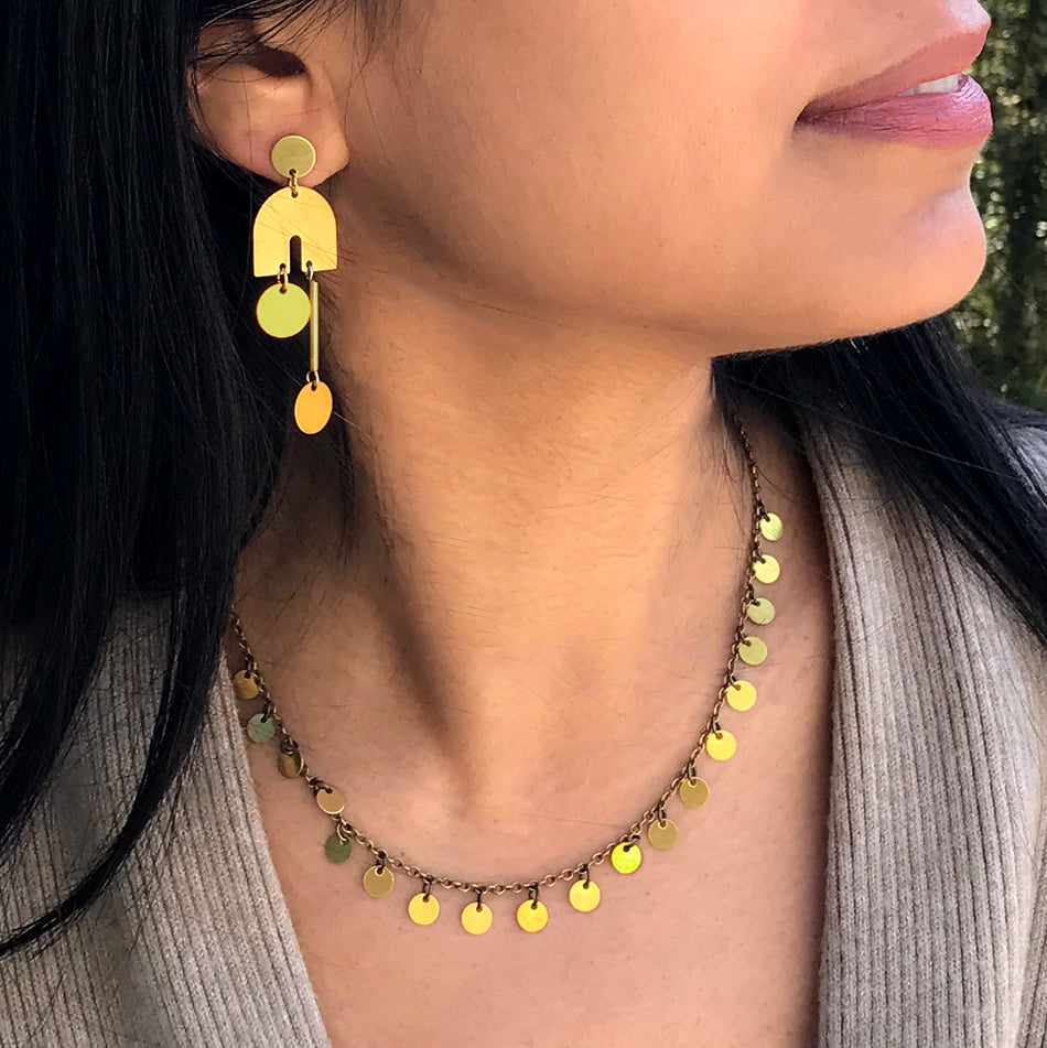 Fair trade brass earrings and necklace handmade by women in Guatemala