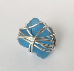 BoHo Festival Large Organic Unique Sea Glass Wrapped Silver Ring Is  In A Stunning Shade Of Blue