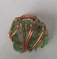 BoHo Festival Chic Handmade Organic Sea Glass Ring Wrapped In Bronze Wire