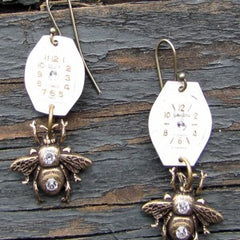 """Bee On Time"" These Earrings Are UnBEElievable!  Antique Silver Bees And Antique Watch Faces Accented With Swarovski Crystals"