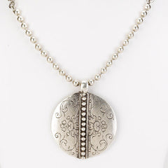 Turkish Collection Large Round Pendant With Engraved Balls and Floral Heart Designs.