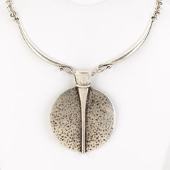 Vintage Turkish Collection Large Round Hammered Pendant With Collar