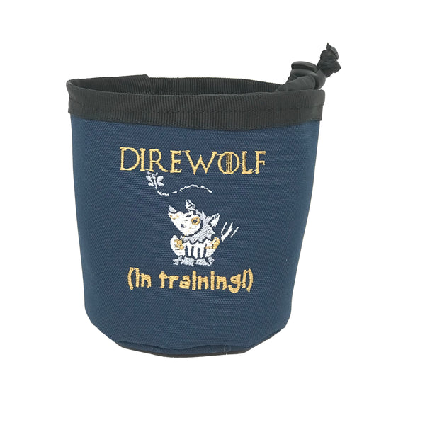 Direwolf in Training treat pouch and water bowl