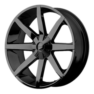 22'' KMC SLIDE GLOSS BLACK FITS CHEVY GM CADILLAC & FORD
